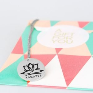 namaste necklace in silver