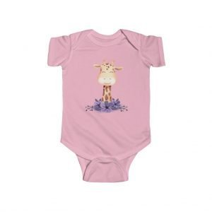 pink Giraffe baby body suit