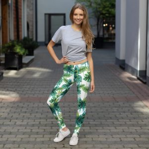 Green Leaf Design Leggings