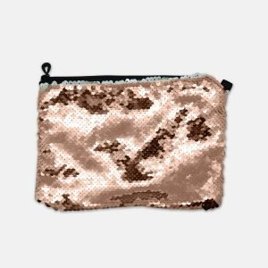 rose gold sequine cosmetic bag