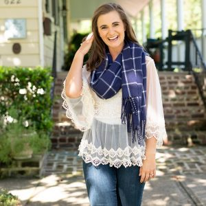 Blue and White Plaid Scarf