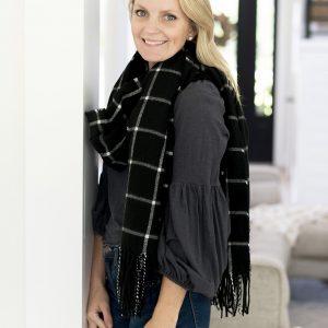 black and white plaid scarf