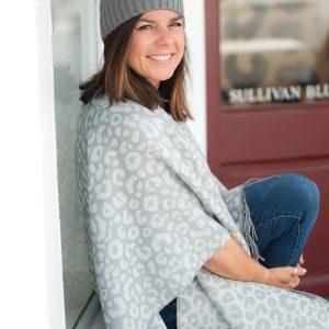 grey leopard print shawl