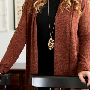 Leopard print feathered necklace