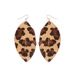 faux leather leopard earrings