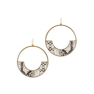 black and white faux leather earrings