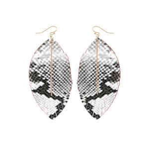 faux leather black and white earrings