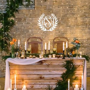 wood wreath monogram